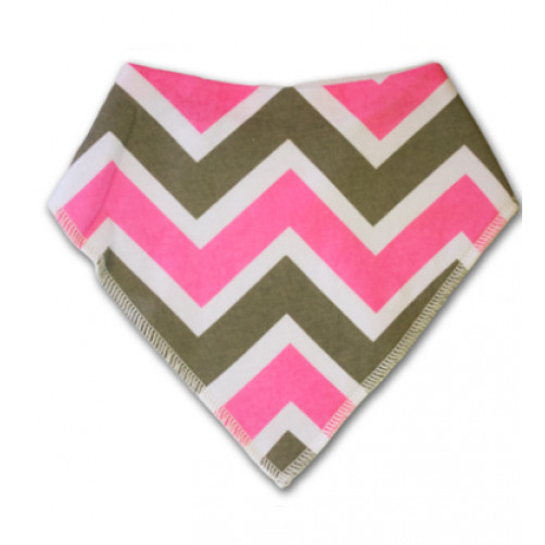 BB001 Pink Grey Chevron Bandana