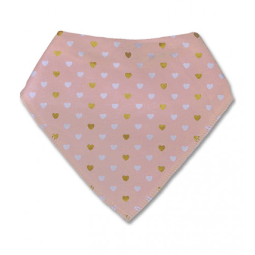BB018 Pink White Gold Hearts Bandana