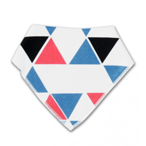 BB021 White Blue Red Triangles Bandana