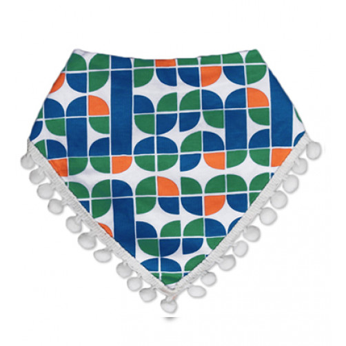BB501 Green Blue Tassels Bandana