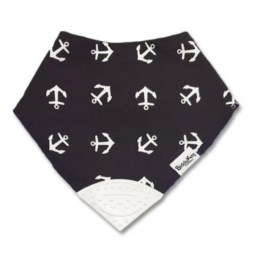Navy Anchors Teether Bib