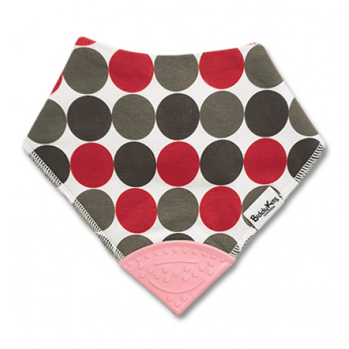 Grey Red Circles Pink Teether Bib