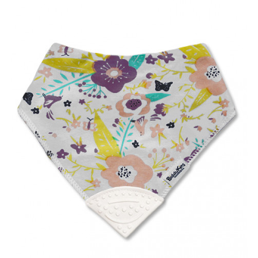 Purple Peach Floral Teether Bib