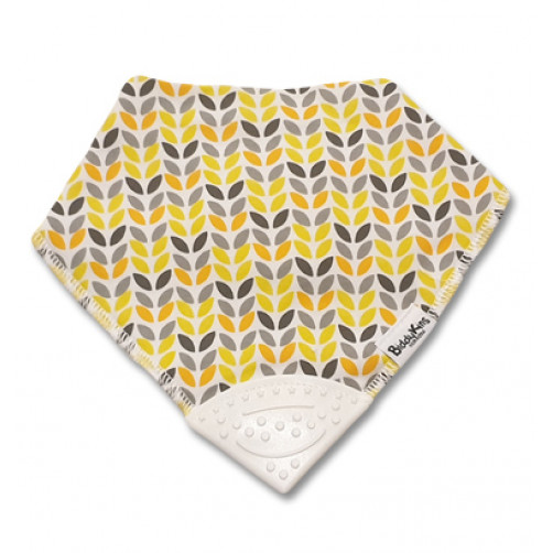Yellow Grey Orange Leaves Teether Bib