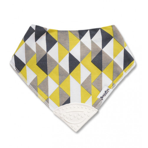 Yellow Grey Triangles Teether Bib
