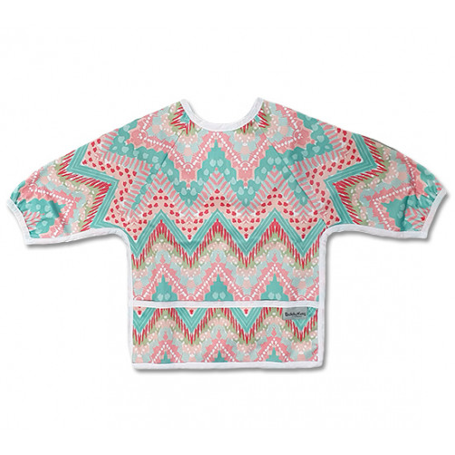 LSB020 Aqua Pink ZigZags Long Sleeve Bib