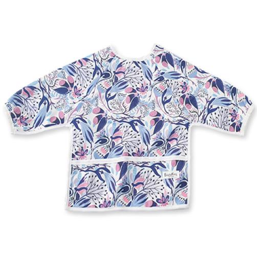 LSB Blue Pink Floral Long Sleeve Bib