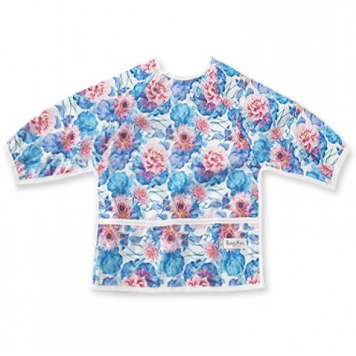 LSB Blue Turquoise Red Floral Long Sleeve Bib