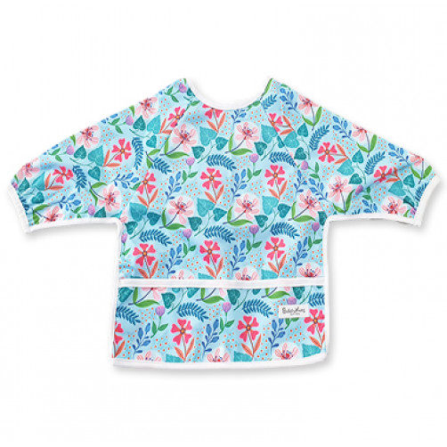 LSB Blue With Blue Leave Red Flowers Long Sleeve Bib