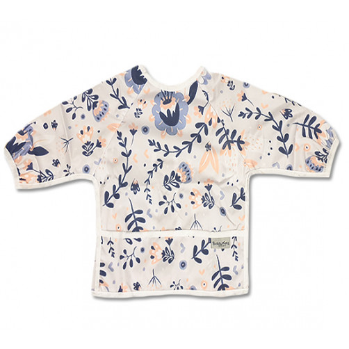 LSB012 Peach Navy Floral Long Sleeve Bib
