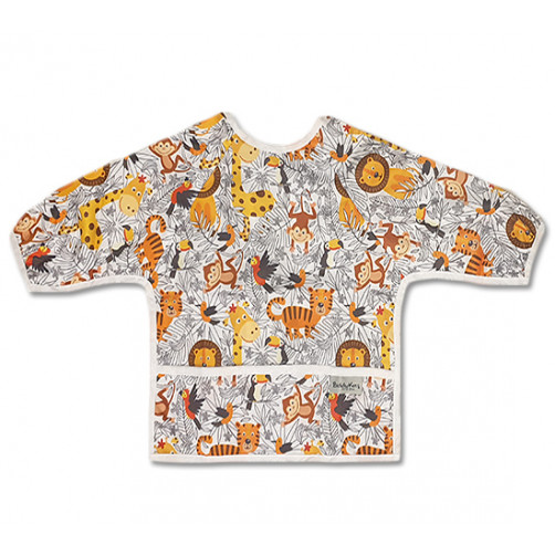 LSB015 Orange Jungle Animals Long Sleeve Bib
