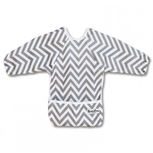 LSB01 Grey Chevron Long Sleeve Bib