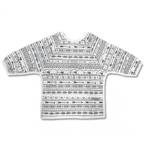 LSB023 White Black Arrow Pattern Long Sleeve Bib
