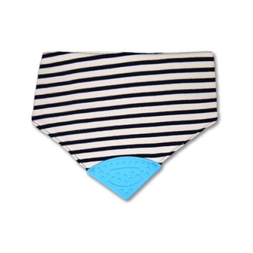Navy Stripe Waterproof Teether Bib