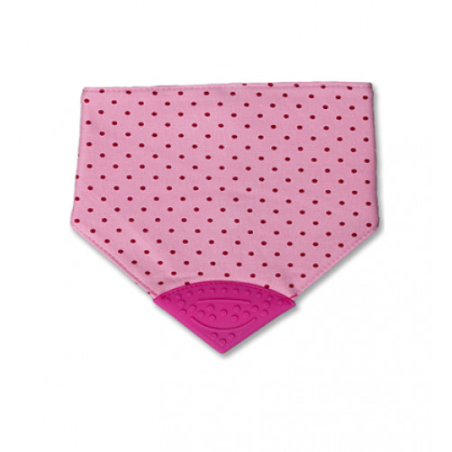Pink Dots Waterproof Teether Bib
