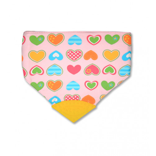 Pink Hearts Waterproof Teether Bib