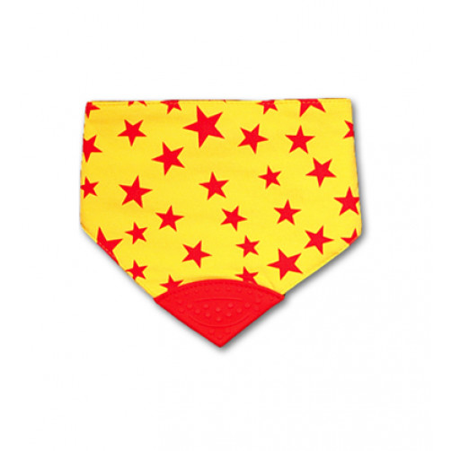 REVERSIBLE Red Stars Waterproof Teether Bib
