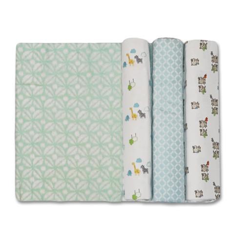 Size (L) Aqua Teddies Zebra Giraffe Blanket Set