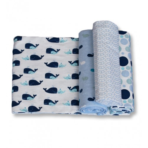 Size (S) Blue Whales Blanket Set