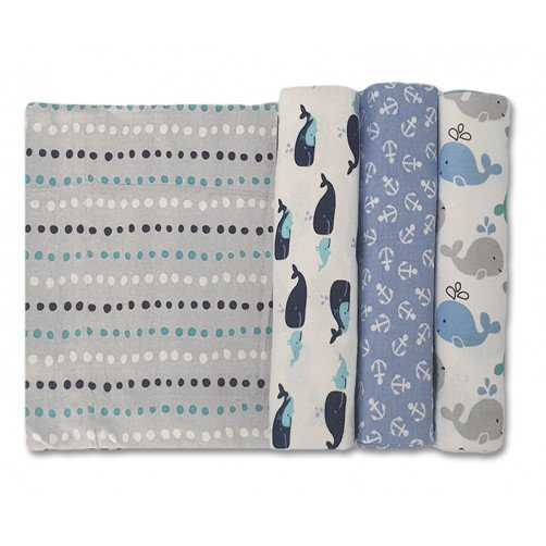 Size (L) Blue Grey Whales Blanket Set