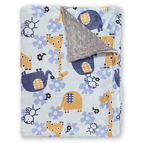 Bubble Fleece Blanket - Blue Ellies Yellow Giraffe