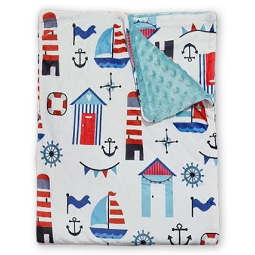 Bubble Fleece Blanket - Red Blue Boats