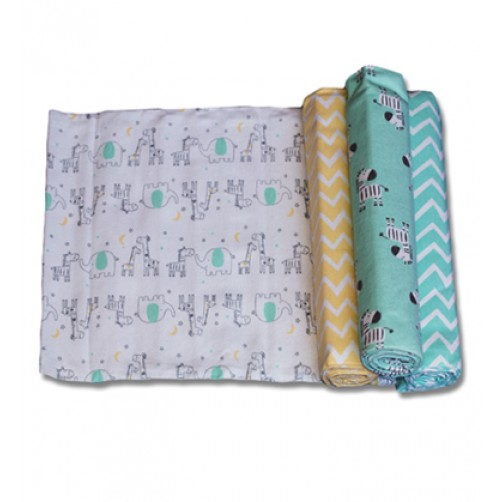 Size (L) Green Zebras & Ellies Blanket Set