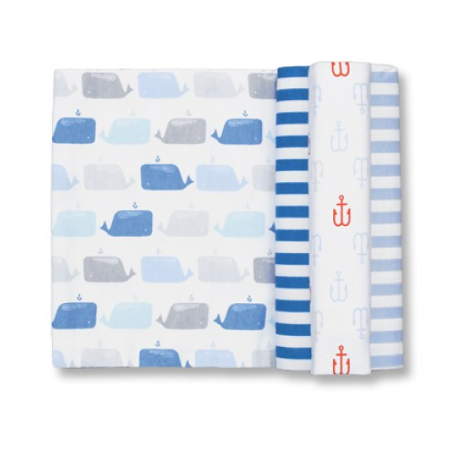 Size (L) Grey Blue Whale Blanket Set