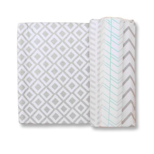 Size (L) Grey with Aqua Blanket Set
