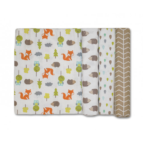 Size (S) Foxes Owls Hedgehogs Blanket Set