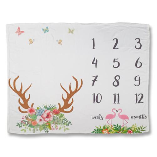 Reindeer Flamingos Milestone Blanket 1,3mx1m