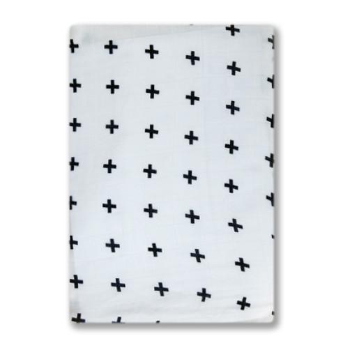 BBM001 White Black Crosses Bamboo Muslin Blanket