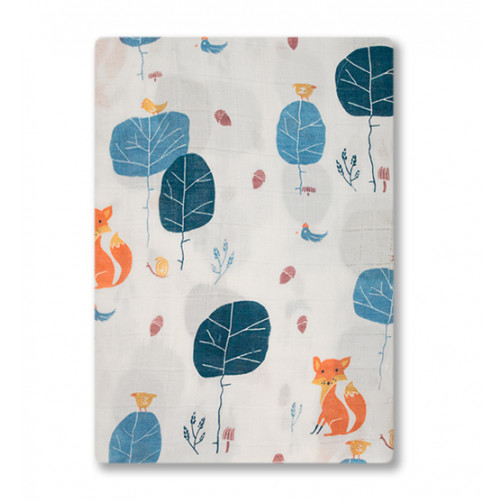 BBM002 White Blue Leaves Foxes Bamboo Muslin Blanket