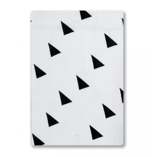BBM013 White with Black Triangles Bamboo Muslin Blanket