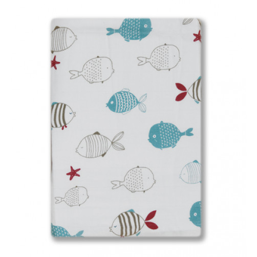 BBM010 Grey Blue Red Fish Bamboo Muslin Blanket
