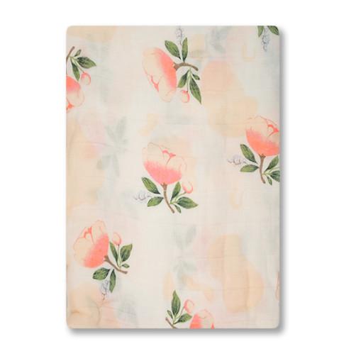 BBM005 Pink Roses Bamboo Muslin Blanket