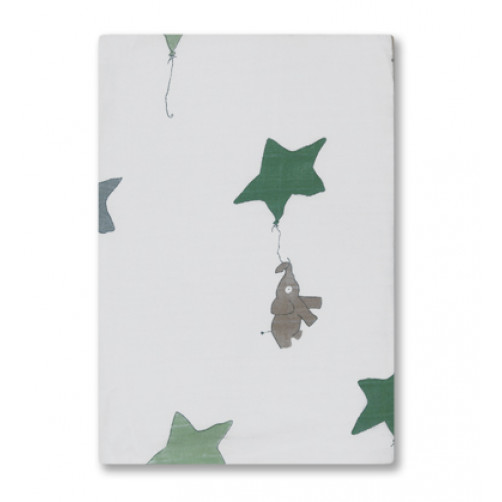 BBM011 Ellies with Grey & Green Star Bamboo Muslin Blanket