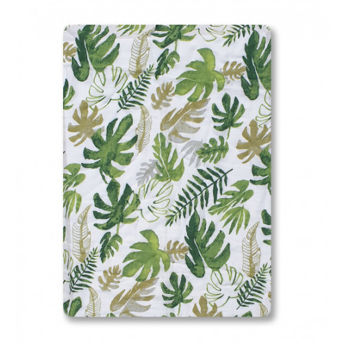 BBM020 Large Green Leaves Bamboo Muslin