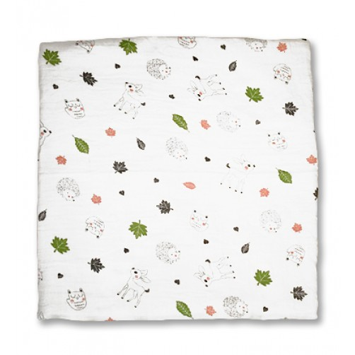 Buck Hedgehog Forest Muslin Blanket