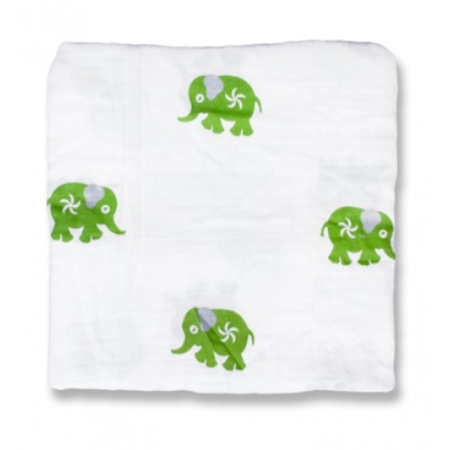 Green Ellies Muslin Blanket