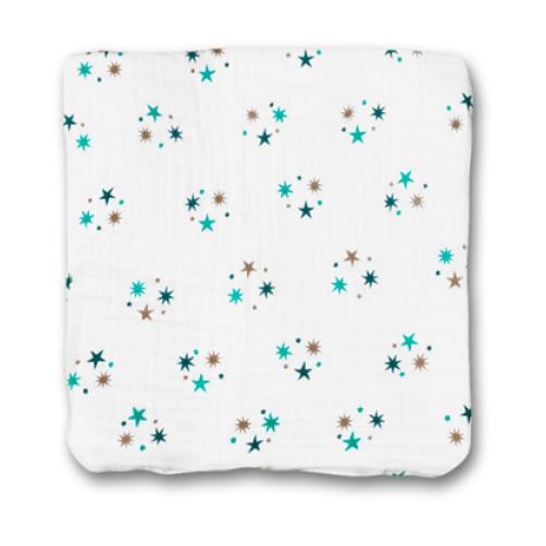Turquoise Stars Muslin Blanket