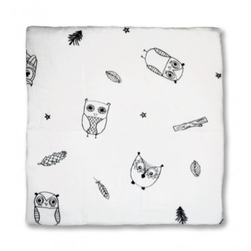 White Black Owls Muslin Blanket