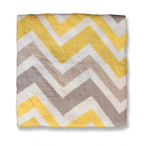 Yellow Grey Chevron Muslin Blanket