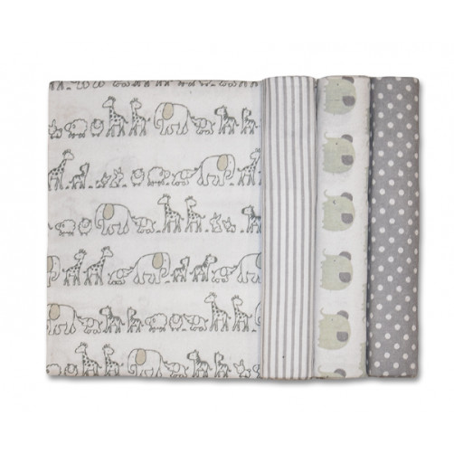 Size (L) Neutral Grey Ellies Giraffes Blanket Set