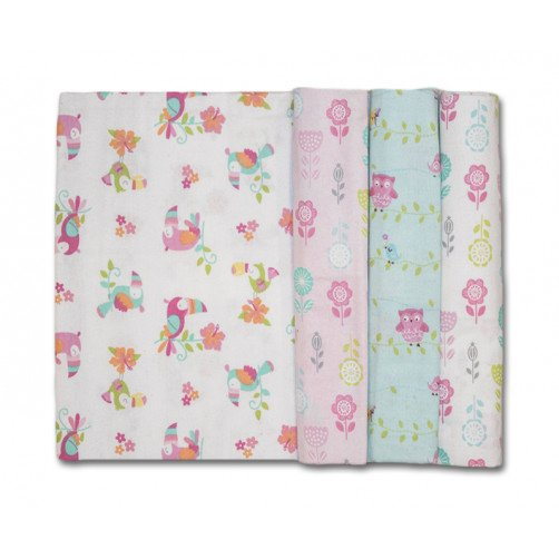 Size (L) Pink Aqua Birds Blanket Set