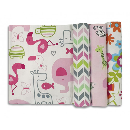 Size (L) Pink Green Grey Animals Flowers Blanket Set