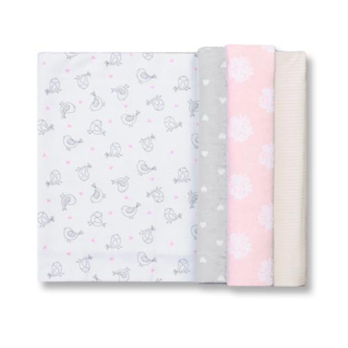Size (L) Pink & Grey Bird Blanket Set
