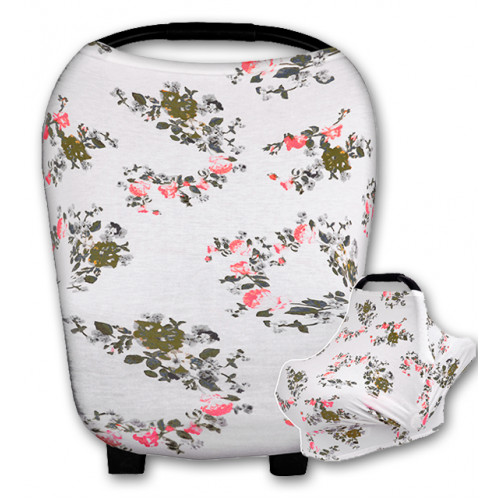CC014 Small Grey Leaves Pink Flowers Carrier Cover