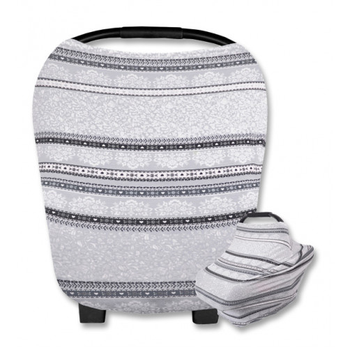CC017 Grey Floral Dark Stripe Carrier Cover