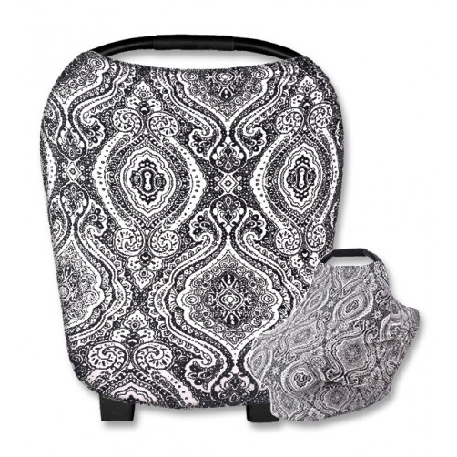 CC018 White Black Large Paisley Print Carrier Cover